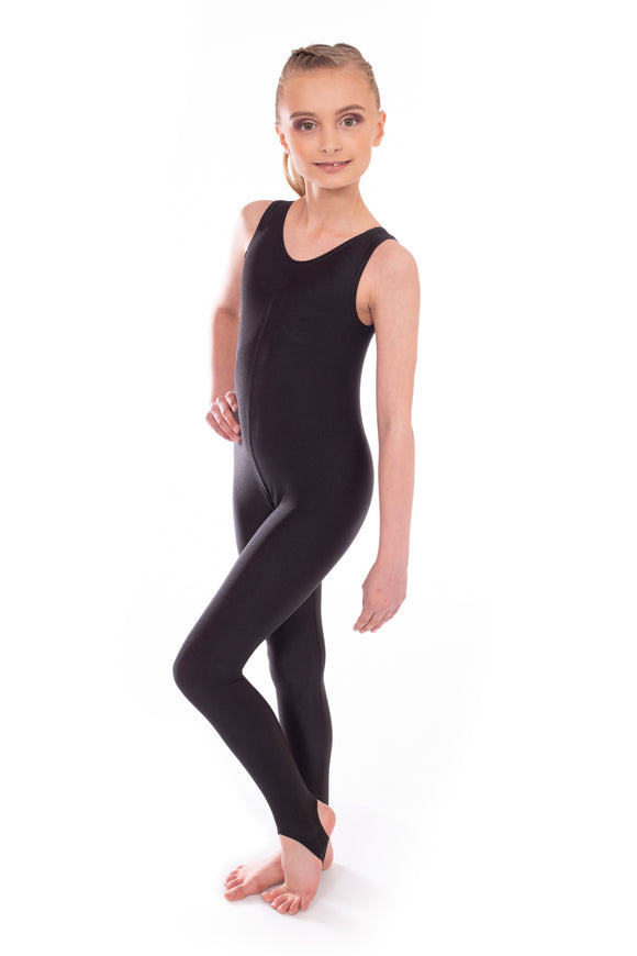 Black Short Sleeved Dance Unitard Catsuit