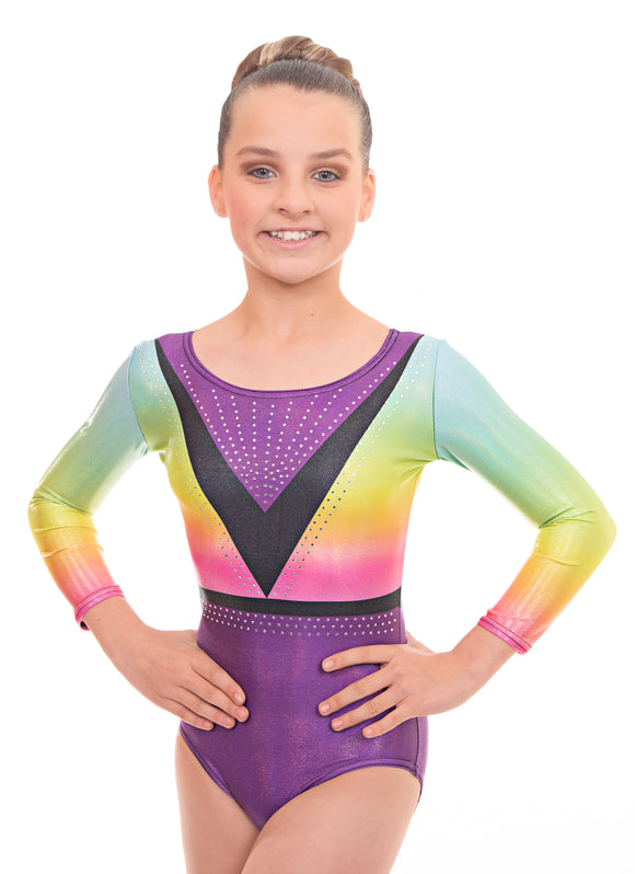 Blaze Rainbow Ombre Long Sleeve Gymnastics Leotard