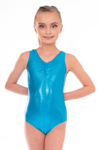 Kingfisher Blue Metallic Girls Sleeveless Leotard