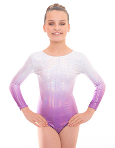 'Brillance' Silver to Purple Ombre Long Sleeved Gymnastics Leotard