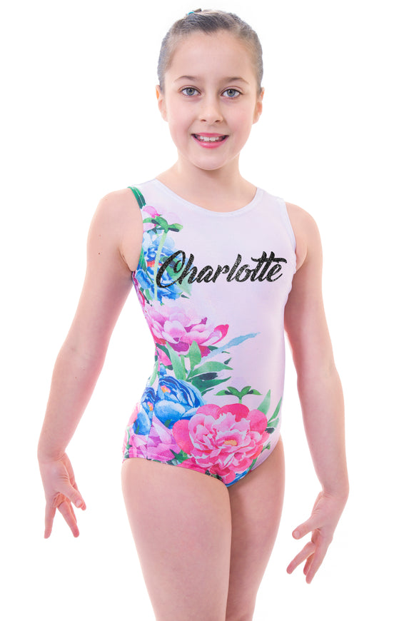 Personalised Pink Floral Watercolour Sleeveless Gymnastic Leotard