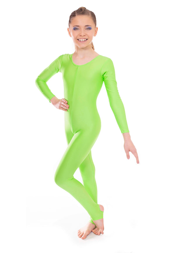 Fluorescent Neon Green Dance Long Sleeved Unitard Catsuit