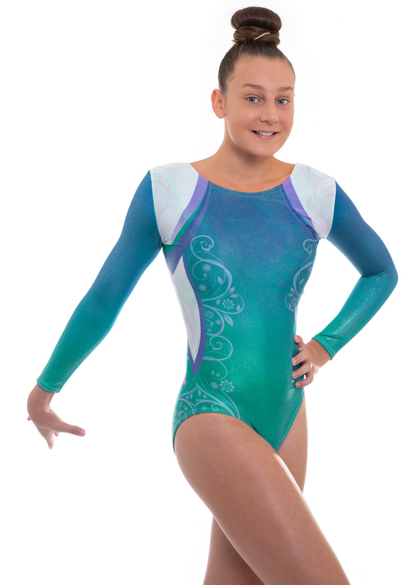'Décor' Turquoise n Blue Ombre Long Sleeved Leotard