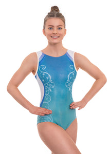 'Décor' Blue Ombre Short Sleeved Leotard