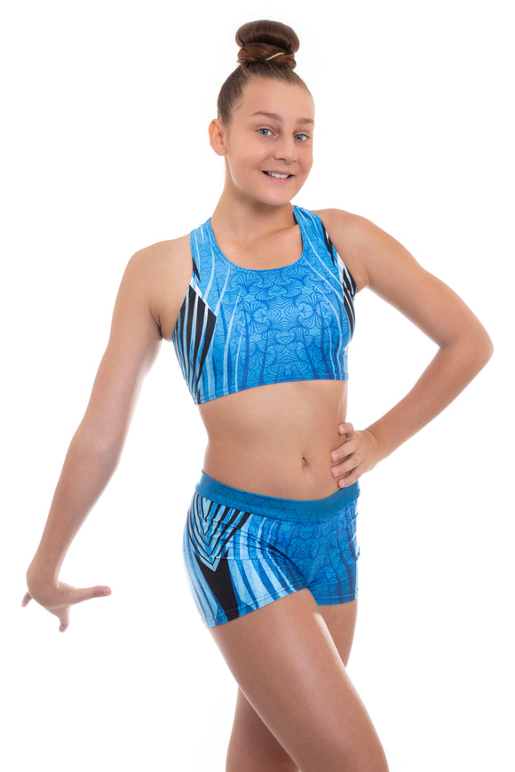 Electrum Crop Top and Shorts Activewear Set