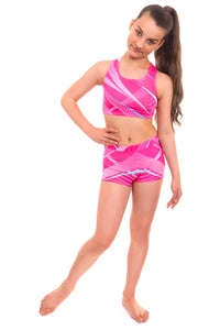 Esprit Pink Crop Top and Shorts Activewear Set
