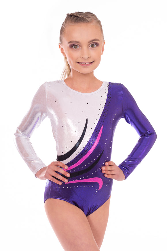 Deluxe 'Eve' Purple and White with Wave encrusted Diamante Sleeved Leotard