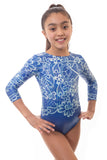 'Flourish' Blue Long Sleeved Gymnastics Leotard
