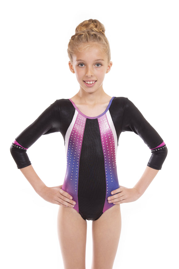 Glide Ombre Deluxe Girls Long Sleeved Gymnastic Leotard