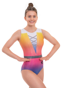 'Glint' Rainbow Ombre Sleeveless Gymnastics Leotard
