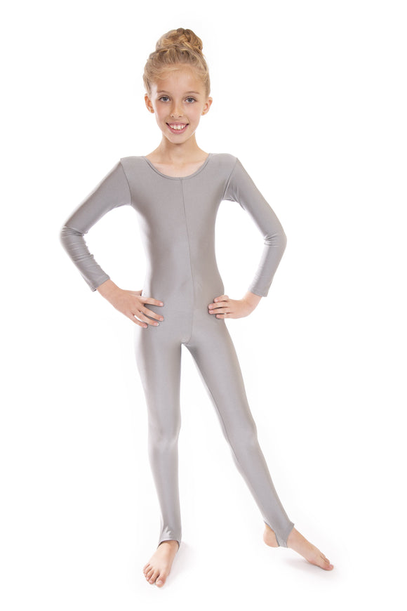 Grey Dance Long Sleeved Unitard Catsuit