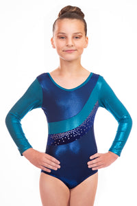 Jazmin in Navy Blue, Silver and Navy Blue Long Sleeved Gymnastics Leotard - On Sale