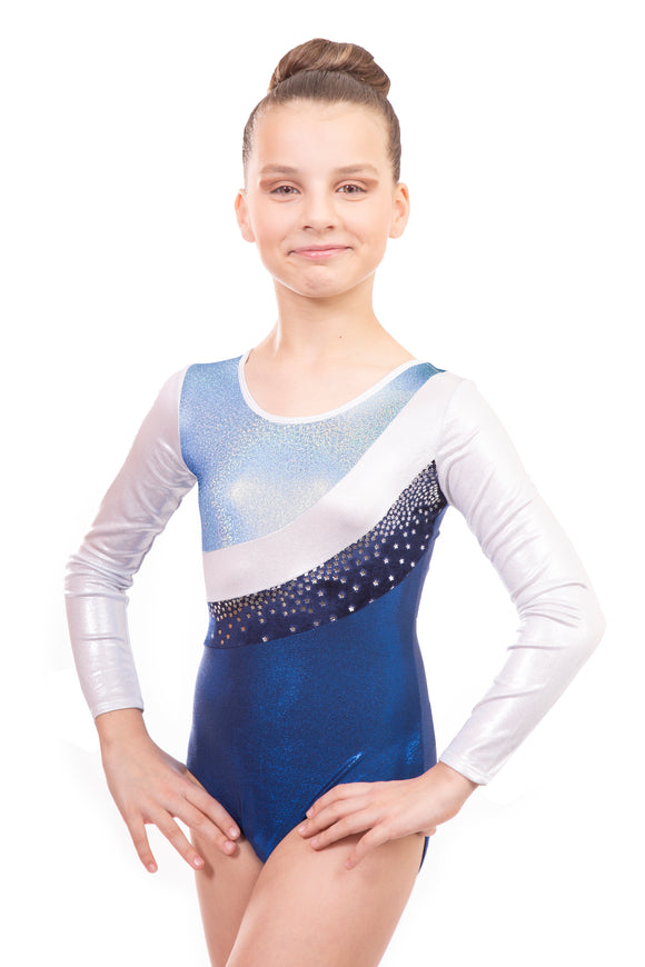 Jazmin in Light Blue, Silver and Navy Blue Long Sleeved Gymnastics Leotard