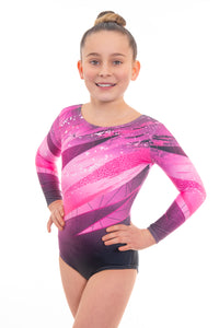 Kiki Pink Long Sleeve Deluxe Gymnastics Leotard
