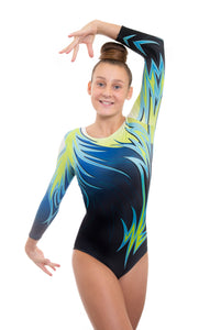 Epic Green Deluxe Long Sleeve Gymnastics Leotard