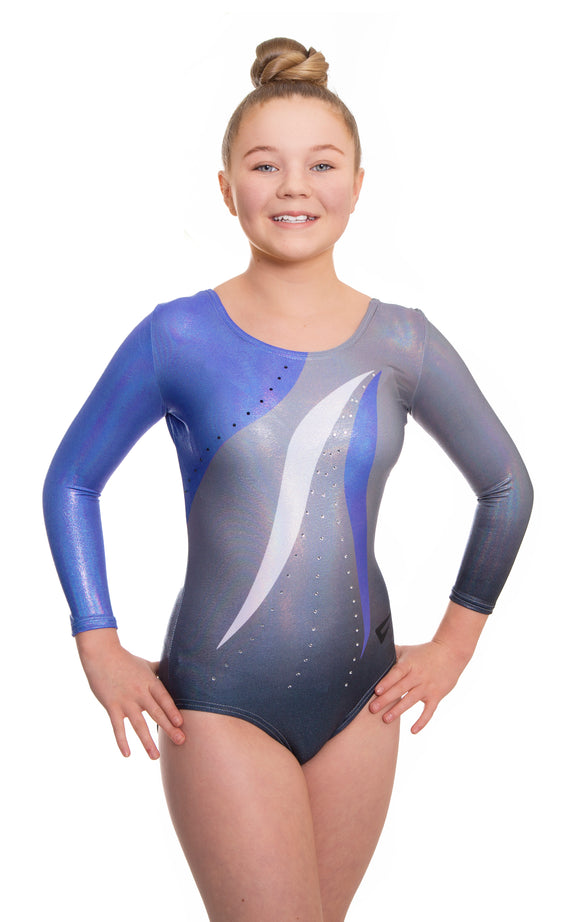 Deluxe Mambo Blue n Grey Deluxe Long Sleeve Gymnastics Leotard