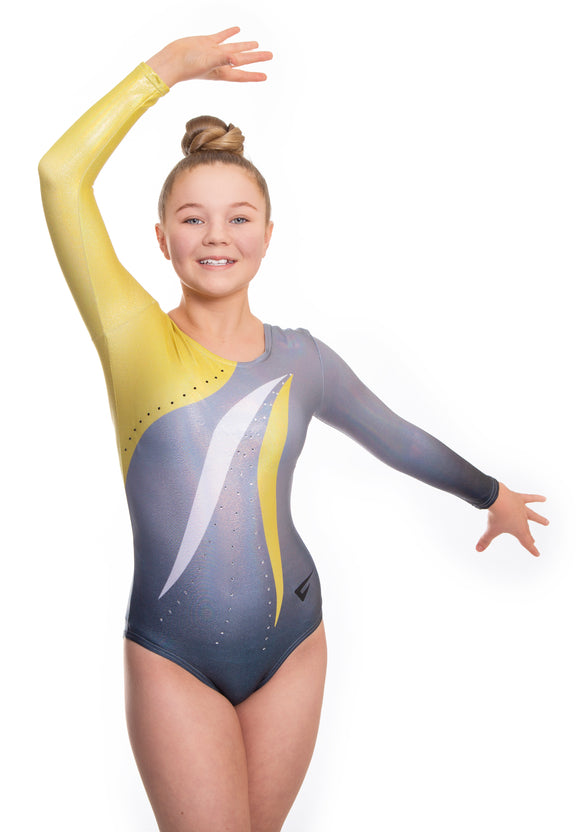 Mambo Gold n Grey Deluxe Long Sleeve Gymnastics Leotard