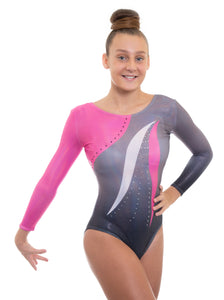 Deluxe Mambo Pink n Grey Deluxe Long Sleeve Gymnastics Leotard