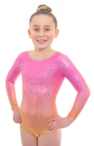 Radiant Mojo Pink and Orange Ombre Long Sleeved Leotard