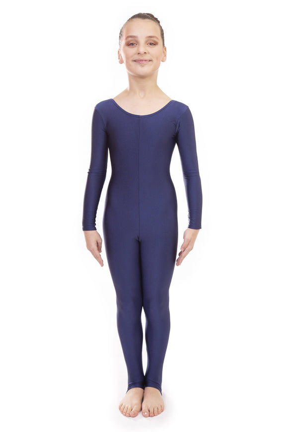Navy Blue Dance Long Sleeved Unitard Catsuit