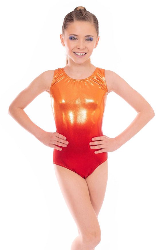 Glitz Two Tone Orange & Red Metallic Short Sleeved Leotard