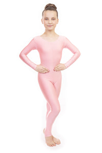 Pale Pink Dance Long Sleeved Unitard Catsuit
