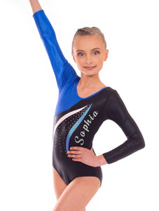 Personalised Blue Mambo Long Sleeved Gymnastics Leotard