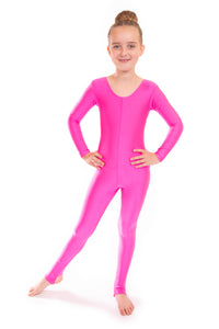Shocking Pink Long Sleeved Dance Unitard
