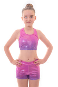 Metallic Pink to Purple Ombre Crop Top and Gym Shorts Set