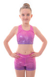 Personalised Metallic Pink to Purple Ombre Crop Top and Gym Shorts Set