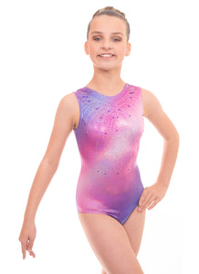 Radiant Holographic Blue to Pink Ombre Sleeveless Gymnastics Deluxe Leotard