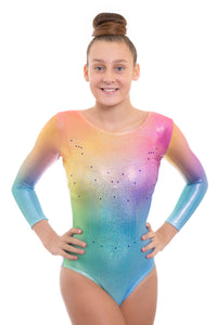 Radiant Rainbow Holographic Deluxe Long Sleeve Gymnastics Leotard