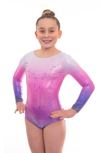Radiant Silver, Pink n Blue Holographic Ombre Long Sleeve Deluxe Gymnastics Leotard