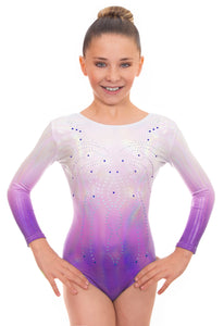 Deluxe 'Radiant' Silver to Purple Ombre Long Sleeved Gymnastic Leotard