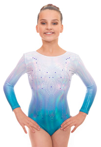 Radiant Silver to Turquoise Long Sleeve Gymnastics Leotard
