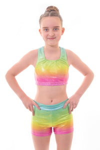 Metallic Blaze Rainbow Ombre Crop Top and Gym Shorts Set