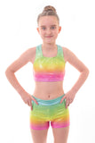 Personalised Metallic Blaze Rainbow Ombre Crop Top and Gym Shorts Set