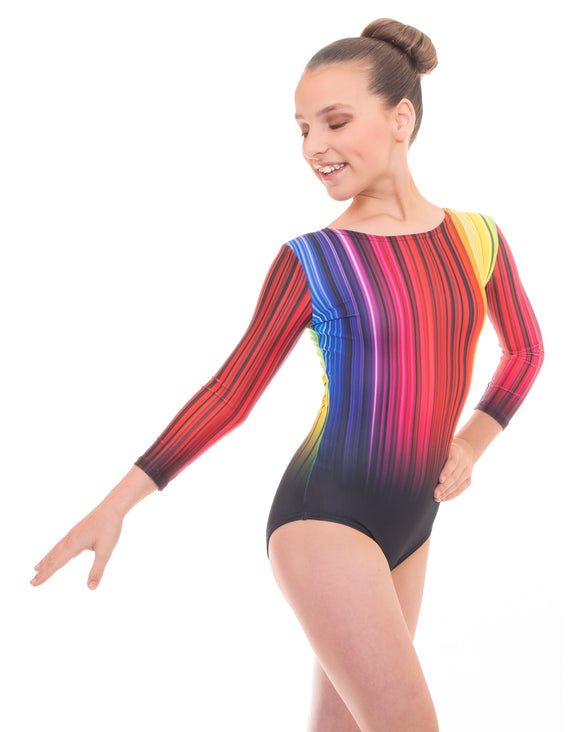 'Rapid' Long Sleeved Metallic Gymnastic Leotard