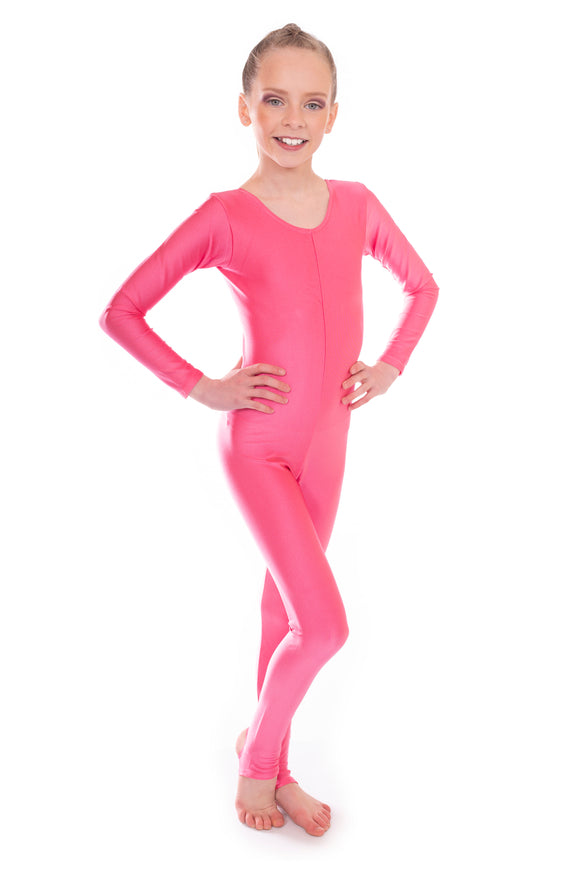Raspberry Red Dance Long Sleeved Unitard Catsuit