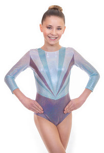 'Ray' Turquoise and Grey Long Sleeved Leotard