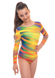 Samba Yellow Long Sleeved Gymnastics Leotard