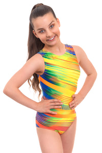Samba Yellow Sleeveless Training Gymnastics Leotard