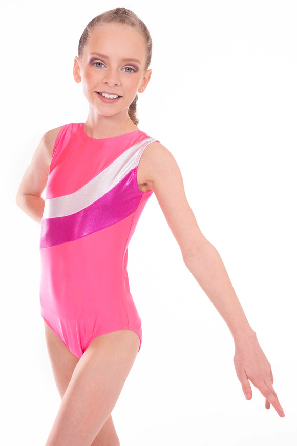 'Shimmer' Pink, Metallic Pink and Silver Stripe Short Sleeved Gymnastic Training Leotard - On Sale