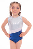 Personalised Shimmer Blue, Ice White and Silver Stripe Short Sleeved Gymnastic Training Leotard
