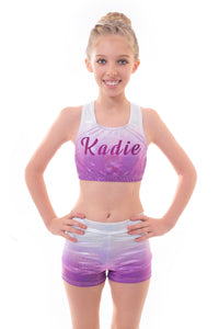 Personalised Metallic Silver to Purple Ombre Crop Top and Gym Shorts Set