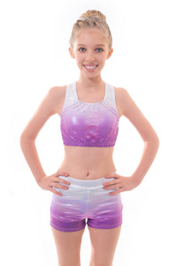 Metallic Silver to Purple Ombre Crop Top and Gym Shorts Set