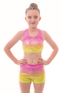 Metallic Summer Ombre Crop Top and Gym Shorts Set