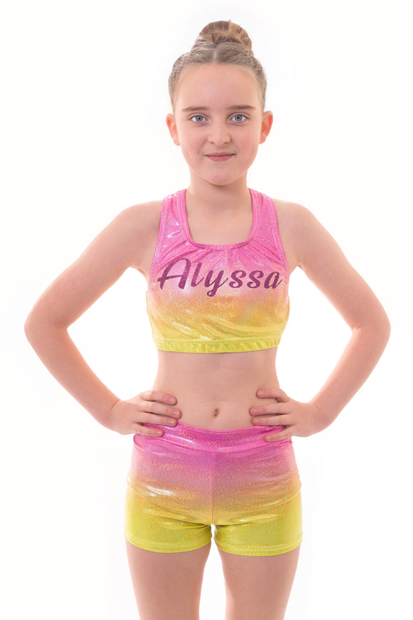 Personalised Metallic Summer Ombre Crop Top and Gym Shorts Set