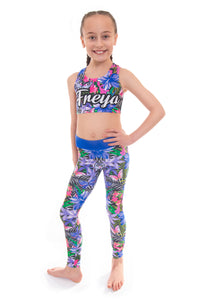 Personalised Tropical Butterfly Blue Crop Top and Leggings Set