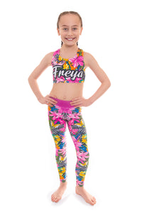 Personalised Tropical Butterfly Pink Crop Top and Leggings Set